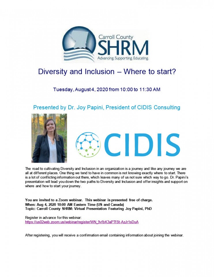 Carroll County SHRM Diversity and Inclusion Business Meeting August 4, 2020